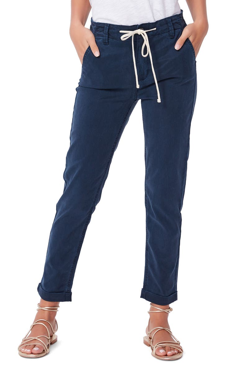 PAIGE Christy Drawstring Waist Pants, Main, color, FRENCH WATERS