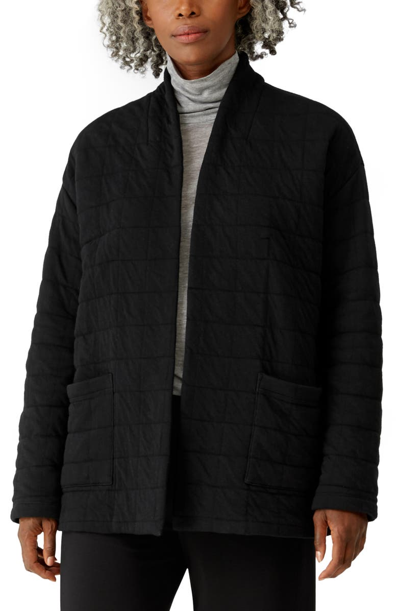 EILEEN FISHER High Collar Quilted Jacket, Main, color, BLACK