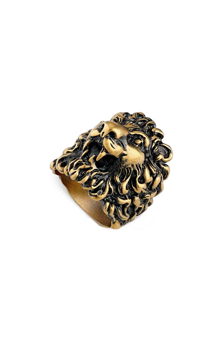 GUCCI Lion Head Ring, Main, color, Gold