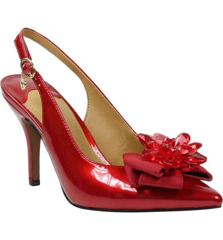 J. RENEÉ Denyell Slingback Pump, Main, color, RED FAUX PATENT LEATHER