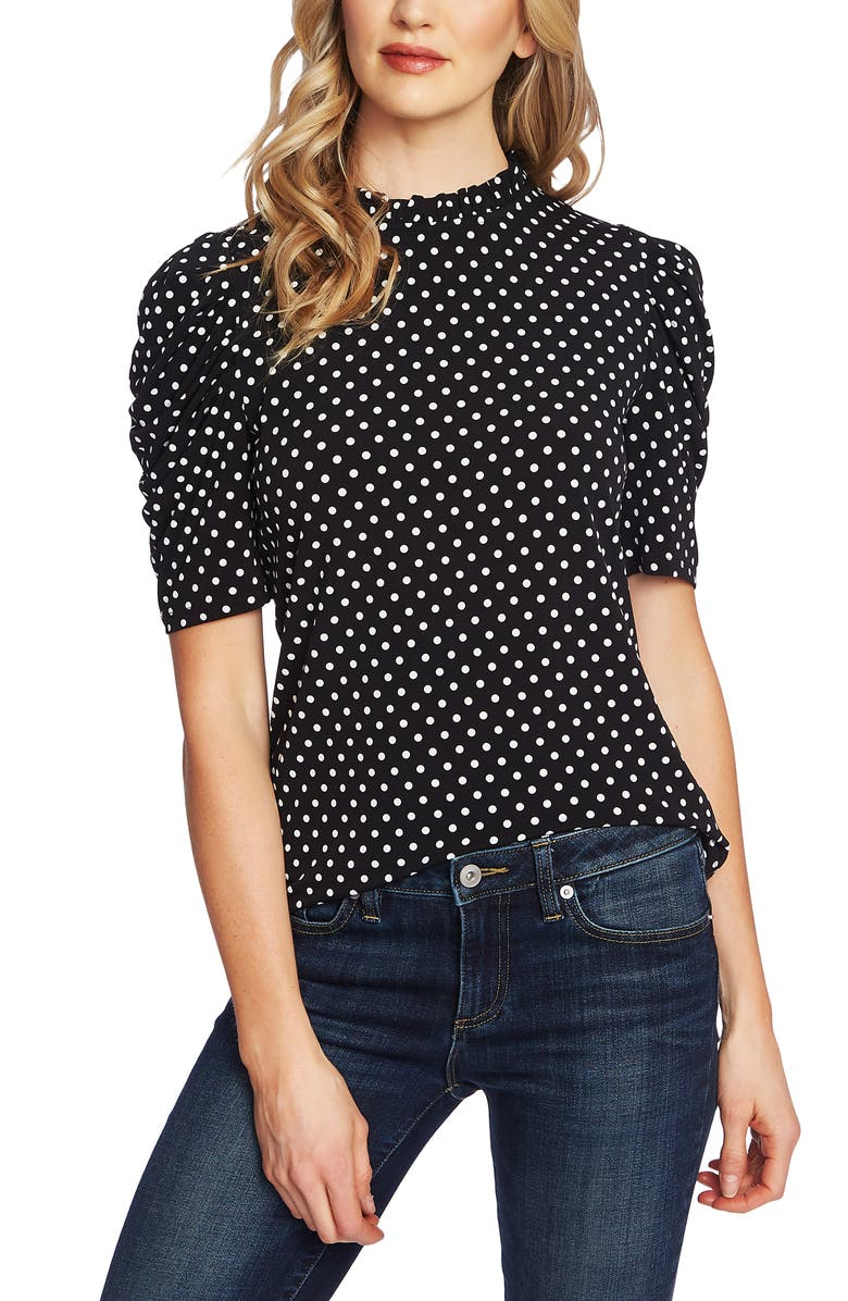 CECE Polka Dot Puff Sleeve Top, Main, color, RICH BLACK