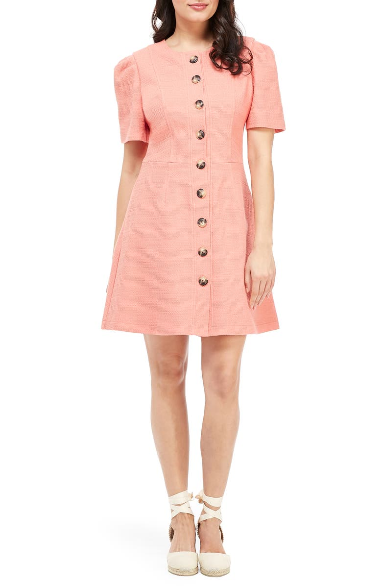 GAL MEETS GLAM COLLECTION Kathleen Button Front A-Line Dress, Main, color, 690