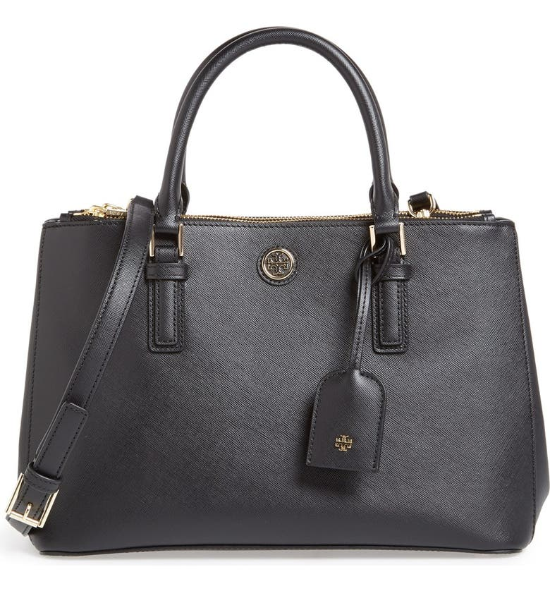 TORY BURCH 'Mini Robinson' Double Zip Tote, Main, color, 001