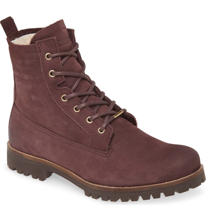 BLACKSTONE OL22 Lace-Up Boot with Genuine Shearling Lining, Main, color, FUDGE LEATHER
