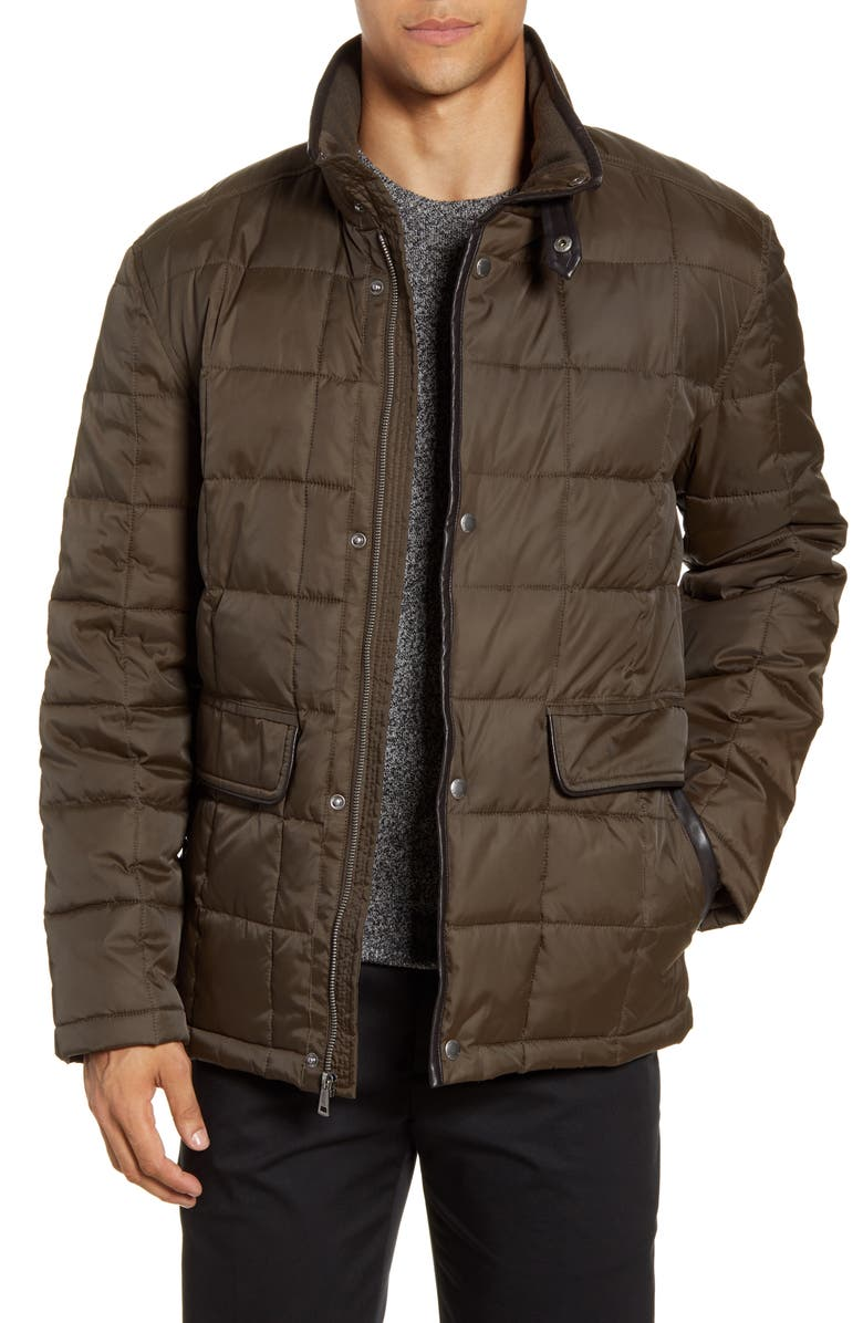 COLE HAAN Box Quilted Jacket, Main, color, OLIVE