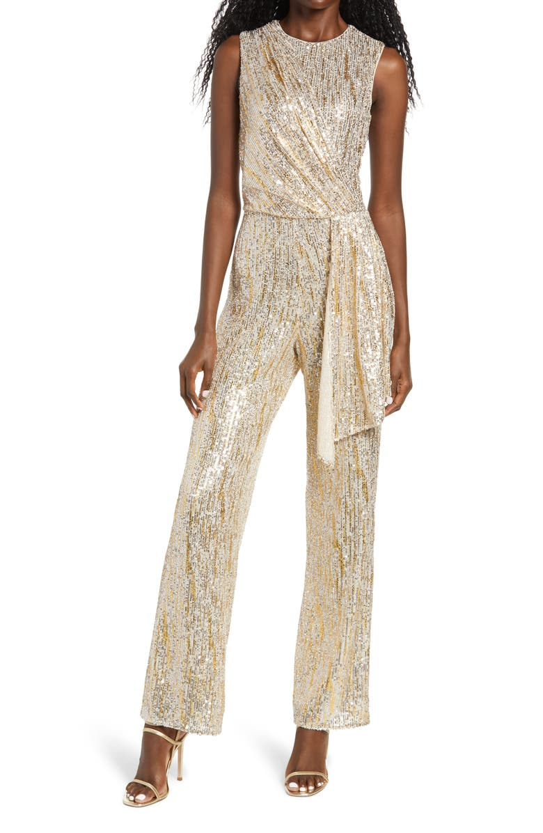 SAYLOR Briar Gold Foiled Sequin Sleeveless Jumpsuit, Main, color, SILVER/ GOLD