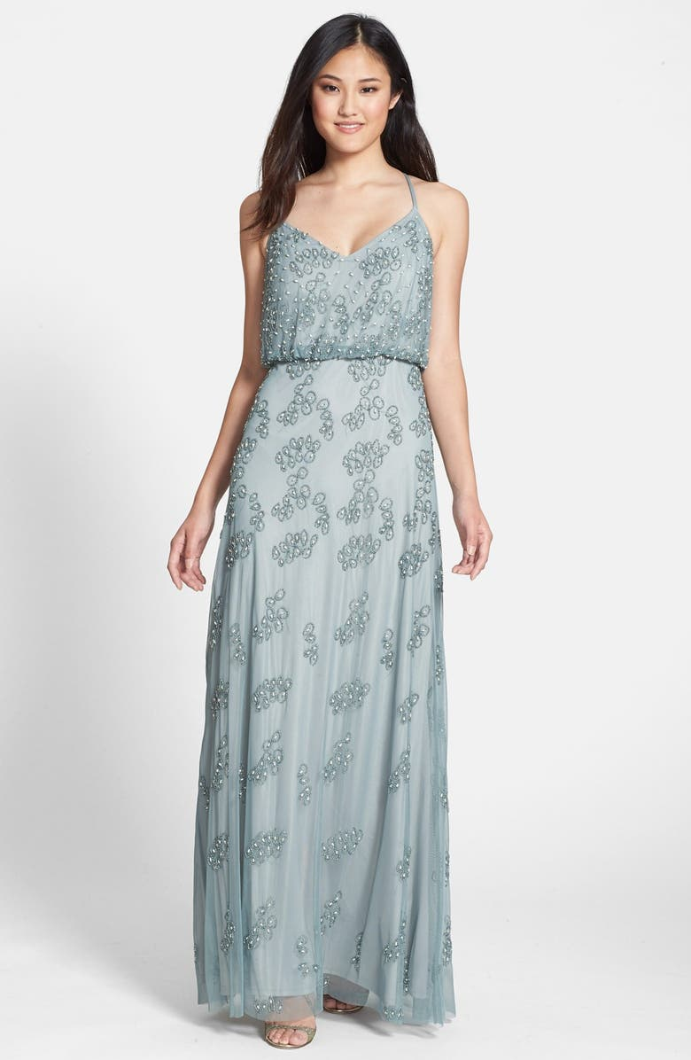 ADRIANNA PAPELL Beaded Blouson Gown, Main, color, 030