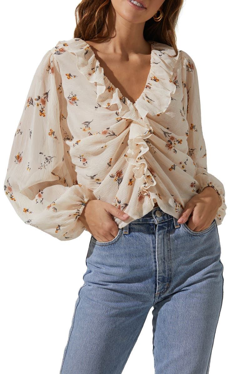 ASTR THE LABEL Ruffle Neck Blouse, Main, color, CREAM MUSTARD MULTI FLORAL