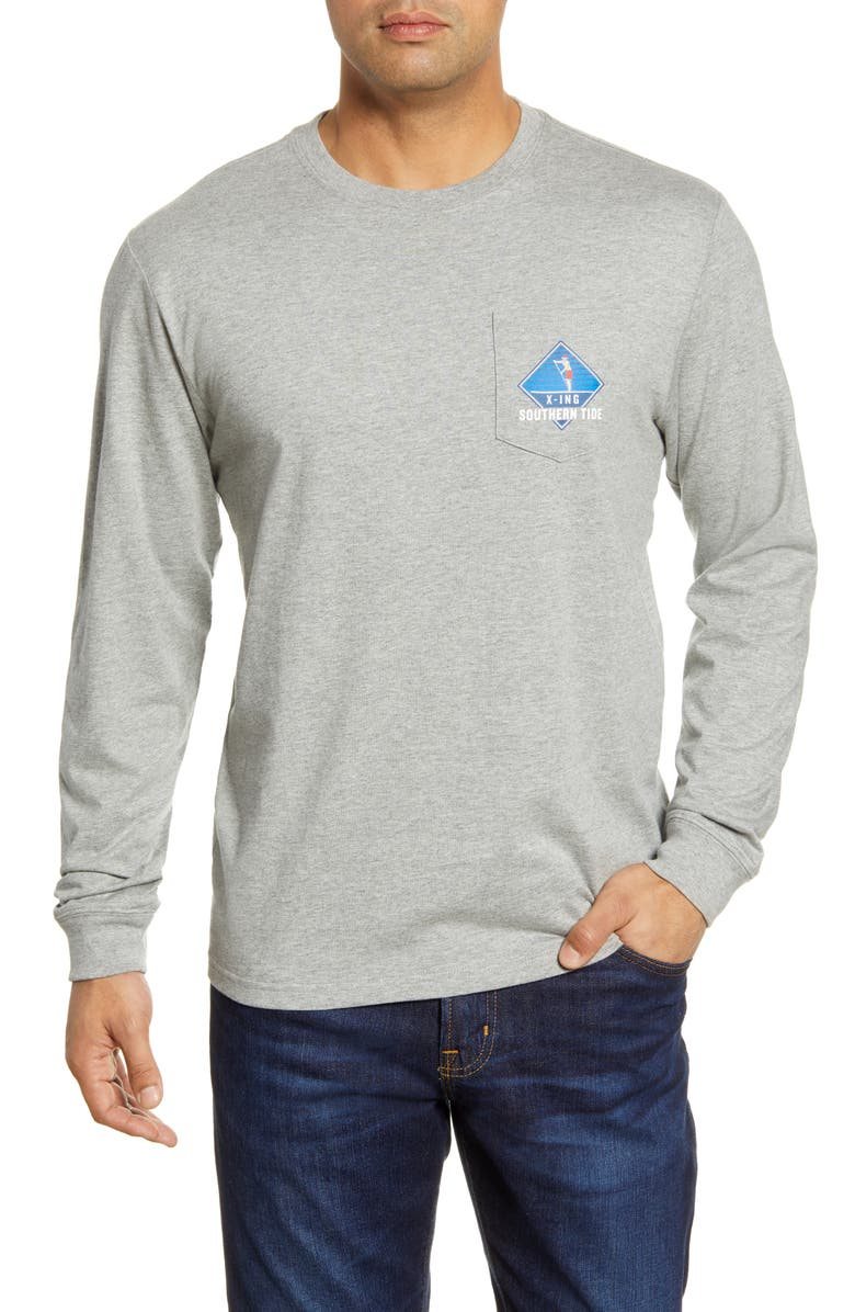 SOUTHERN TIDE Holiday Crossing Long Sleeve Pocket T-Shirt, Main, color, 011