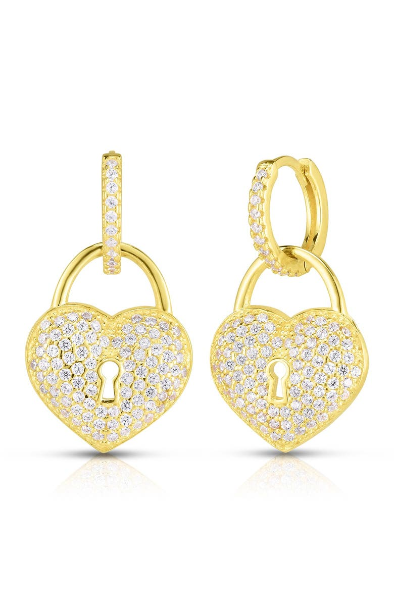 SPHERA MILANO 14K Gold Plated Sterling Silver CZ Heart Lock Huggie Earrings, Main, color, YELLOW GOLD
