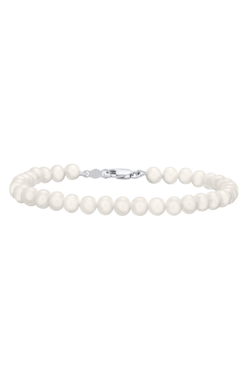 MIGNONETTE Sterling Silver & Cultured Pearl Bracelet, Main, color, Silver