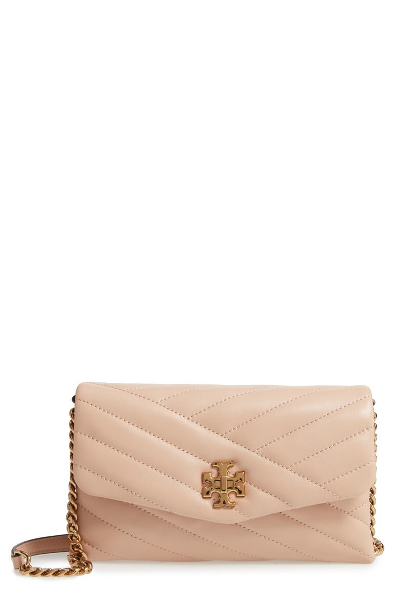 TORY BURCH Kira Chevron Quilted Leather Wallet on a Chain, Main, color, DEVON SAND