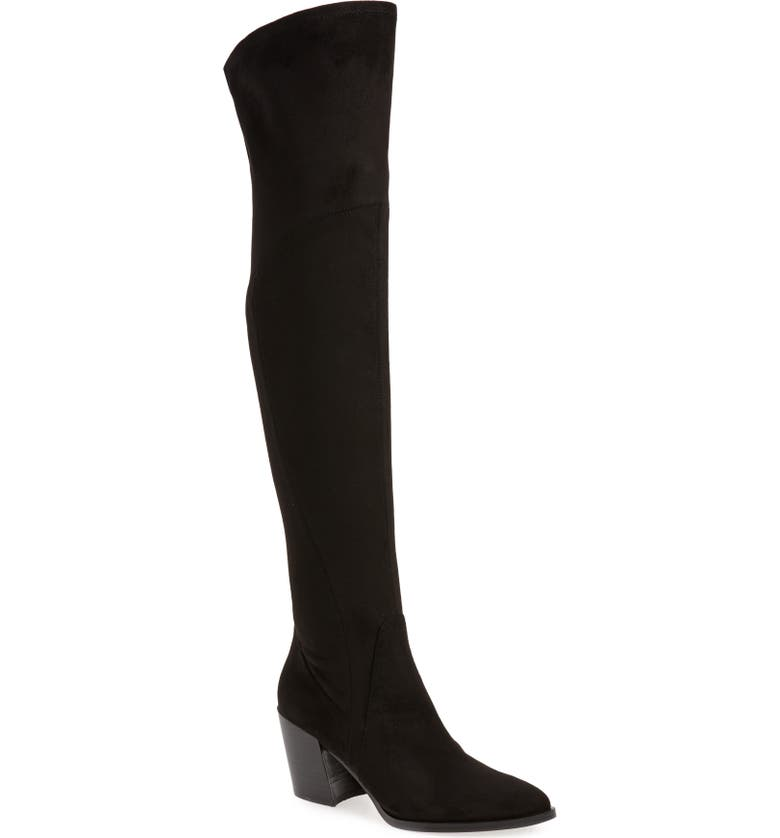 MARC FISHER LTD . Cathi Pointed Toe Over the Knee Boot, Main, color, BLACK FABRIC