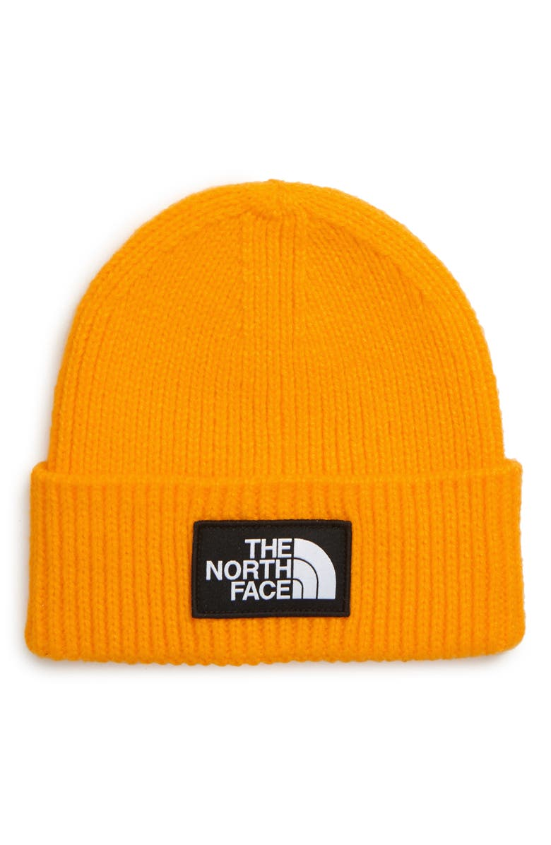 THE NORTH FACE Logo Cuffed Beanie, Main, color, YELLOW