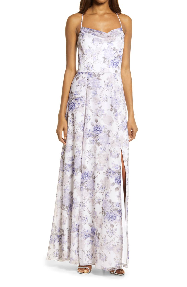 WAYF The Wesley Etched Roses Cowl Neck Gown, Main, color, ULTRA VIOLET ETCHED ROSES