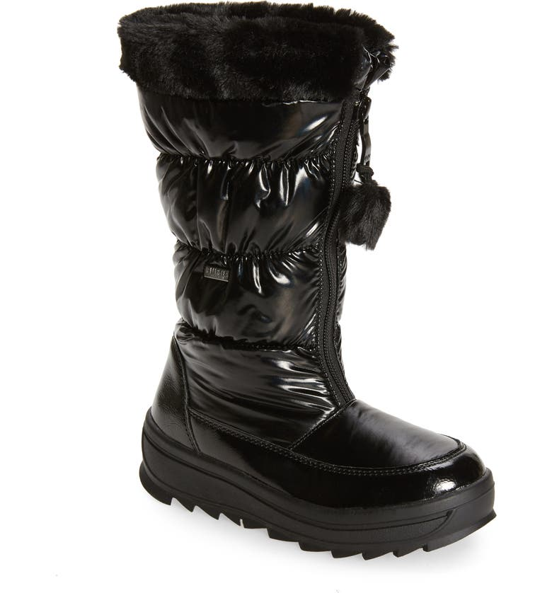 PAJAR Kids' Waterproof Boot with Faux Fur Lining, Main, color, BLACK METAL