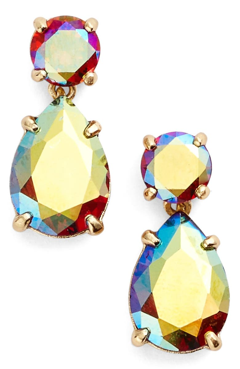 KATE SPADE NEW YORK double drop crystal earrings, Main, color, ABALONE/ GOLD