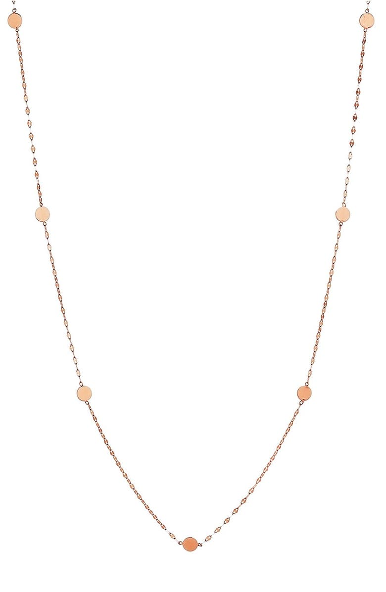 LANA JEWELRY 'Ombré' Disc Station Necklace, Main, color, ROSE GOLD