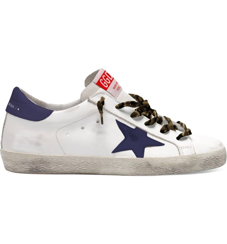 GOLDEN GOOSE Super-Star Low Top Sneaker, Main, color, WHITE/ NIGHT BLUE