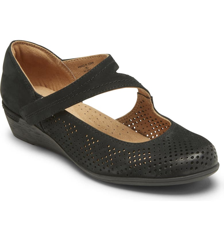 ROCKPORT COBB HILL Devyn Wedge Mary Jane, Main, color, BLACK LEATHER