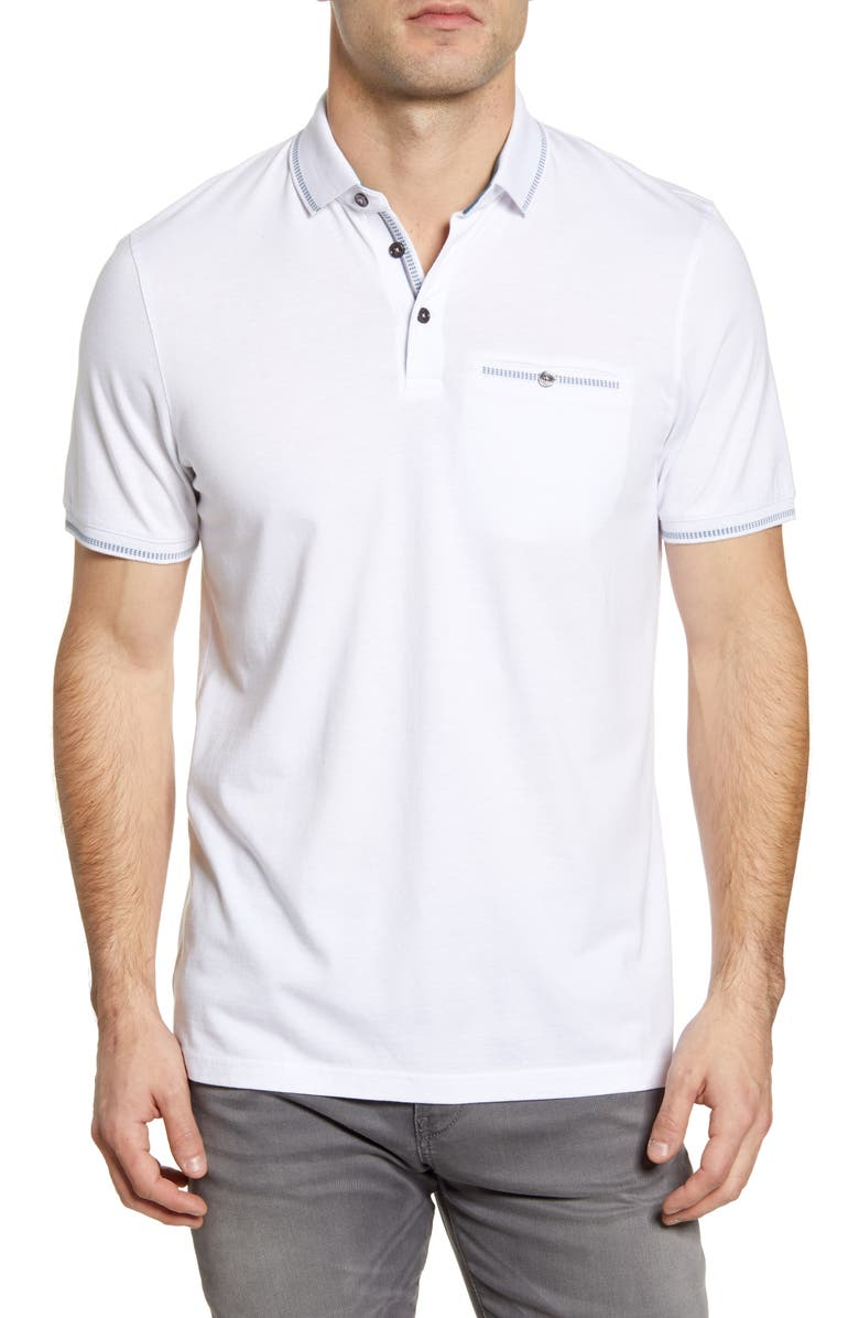 TED BAKER LONDON Tortila Slim Fit Tipped Pocket Polo, Main, color, WHITE