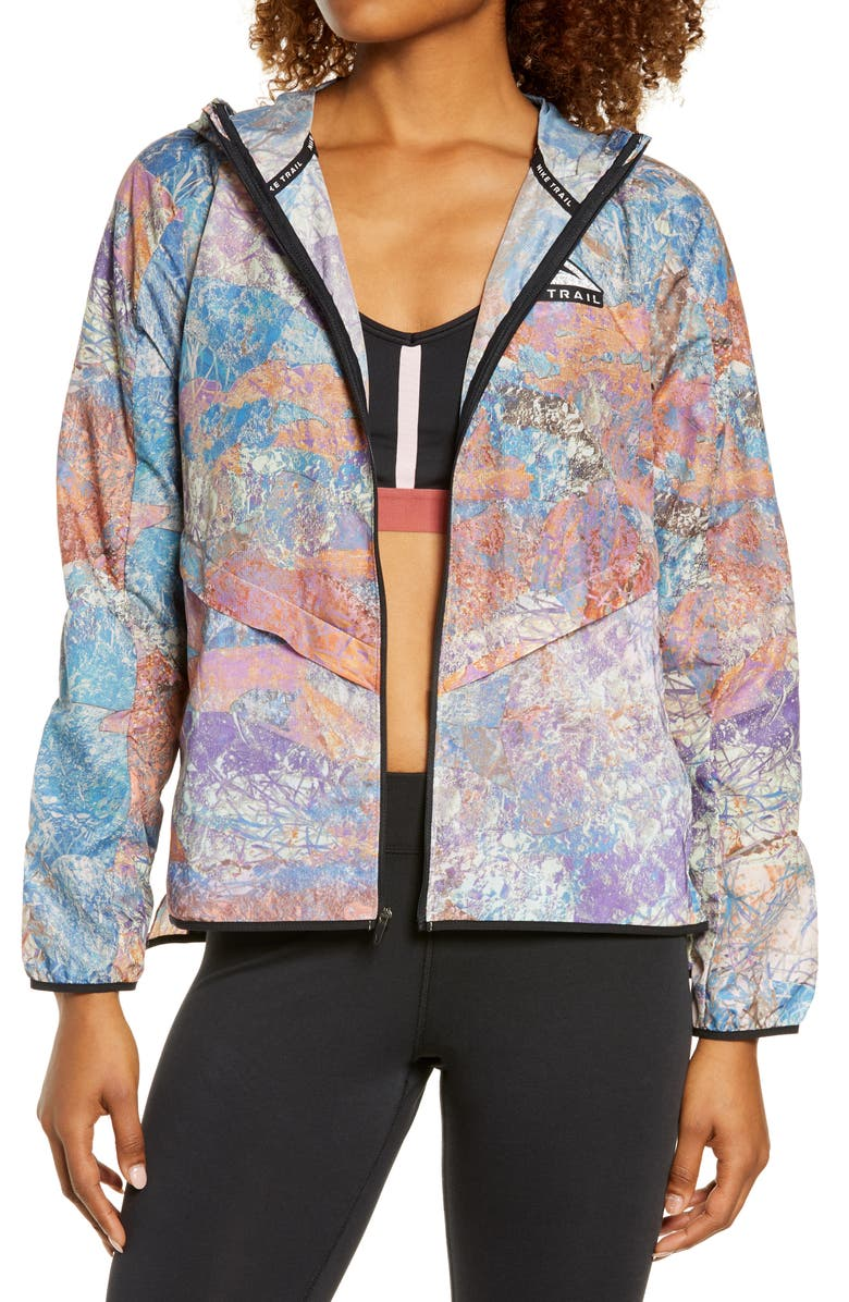NIKE Packable Trail Windrunner Jacket, Main, color, BLUE LAGOON/ BLACK