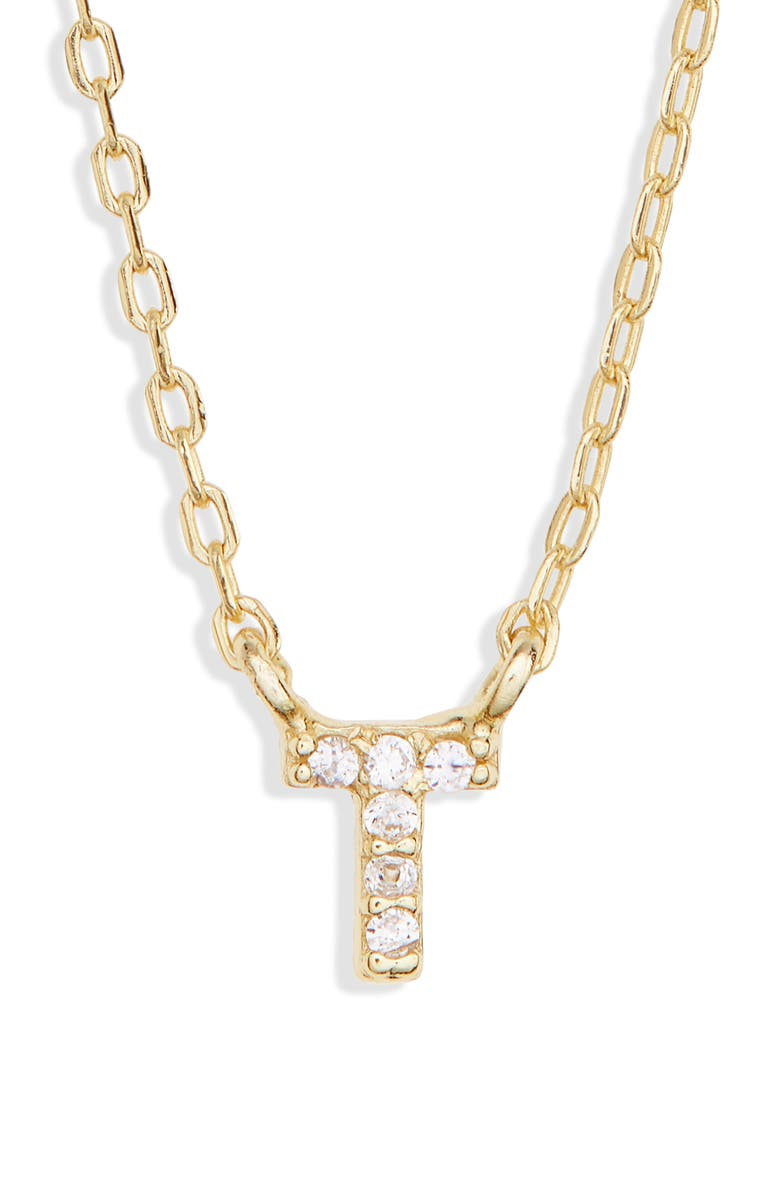 MELINDA MARIA Pavé Itty Bitty Initial Pendant, Main, color, GOLD T