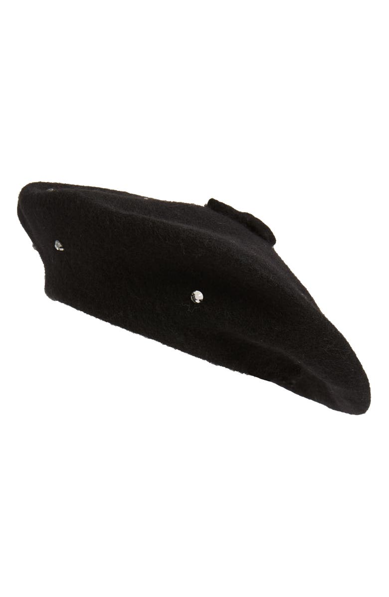 KATE SPADE NEW YORK bedazzled felt beret, Main, color, 001