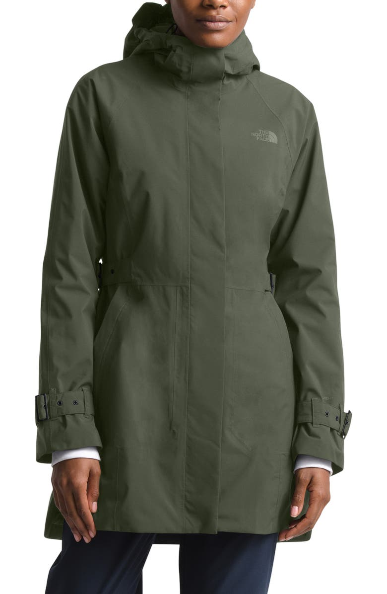 THE NORTH FACE City Breeze Waterproof Trench Raincoat, Main, color, NEW TAUPE GREEN