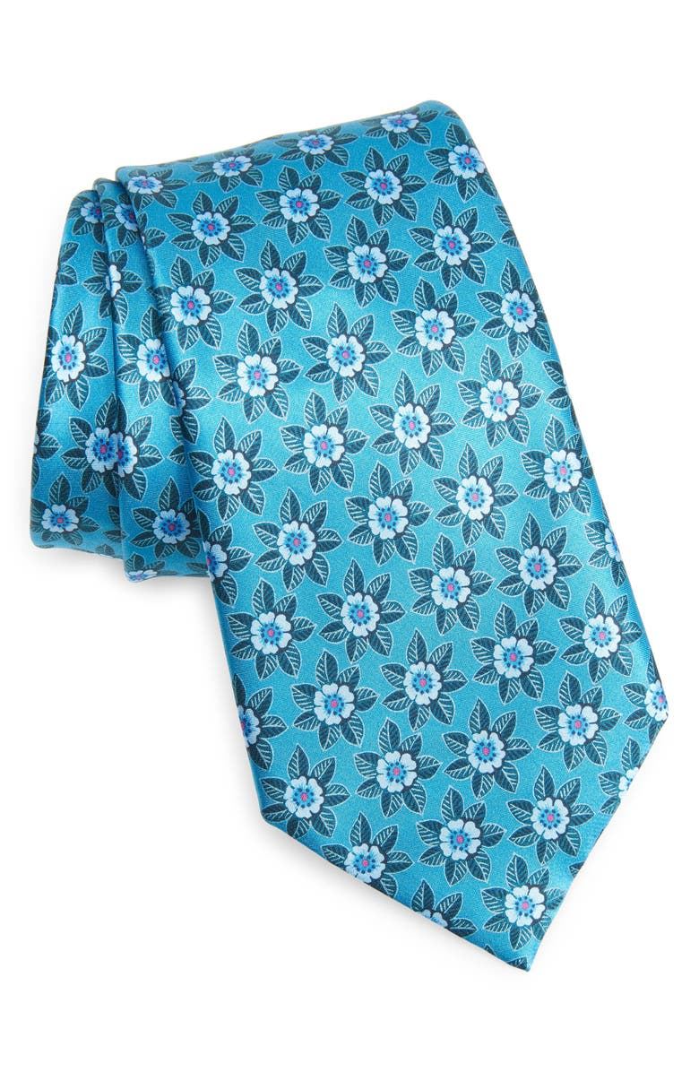 ERMENEGILDO ZEGNA Quadri Colorati Floral Silk Tie, Main, color, TEAL