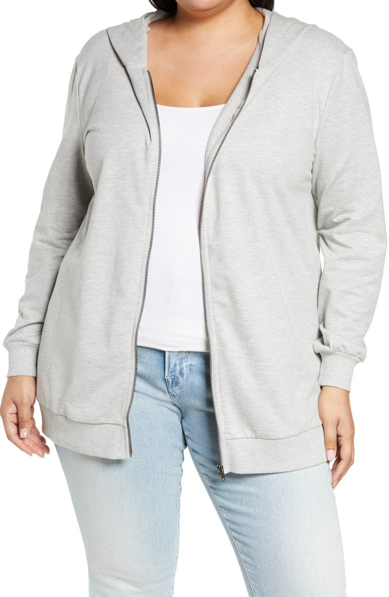 BP. Women's Oversize Zip Hoodie, Main, color, GREY LIGHT HEATHER