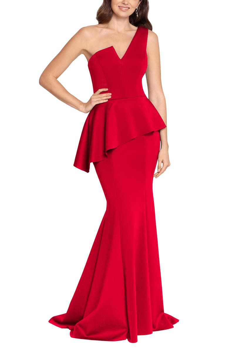 BETSY & ADAM One-Shoulder Scuba Crepe Mermaid Gown, Main, color, RED