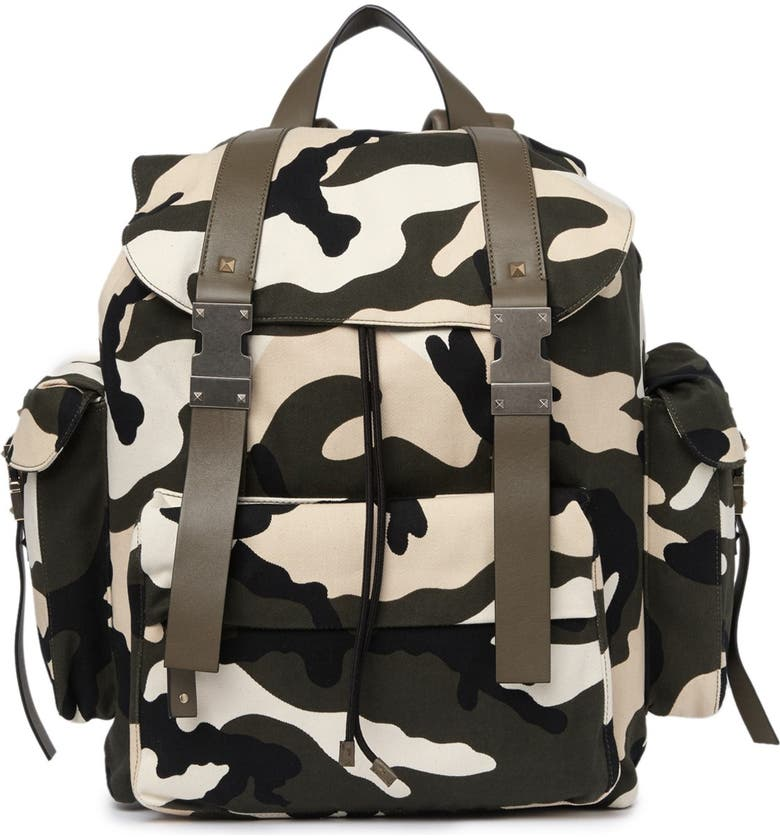VALENTINO Camo Print Backpack, Main, color, Y89 ARMY/WHITE/BEIGE