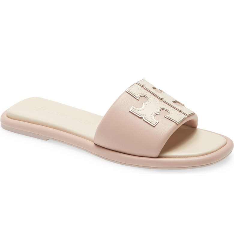 TORY BURCH Double T Sport Slide Sandal, Main, color, SHELL PINK/CREAM/GOLD