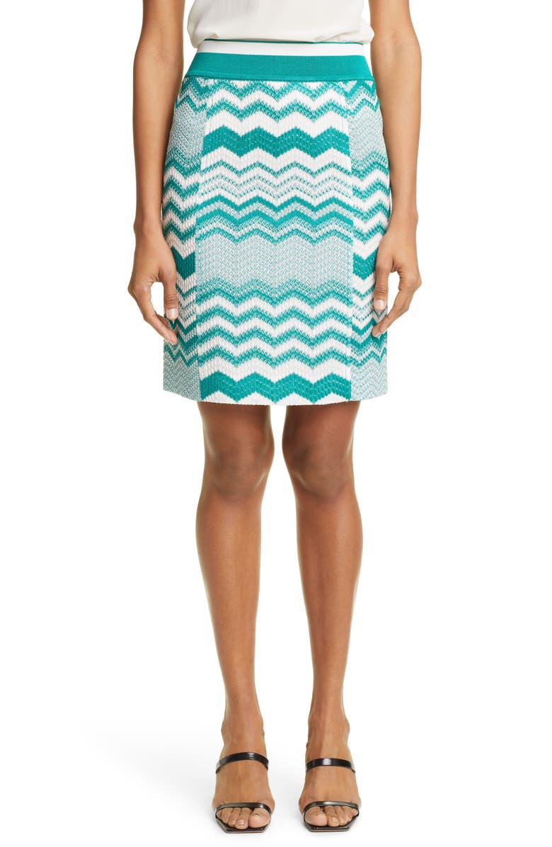 MISSONI Zigzag Jacquard Sweater Skirt, Main, color, S60AW TEAL