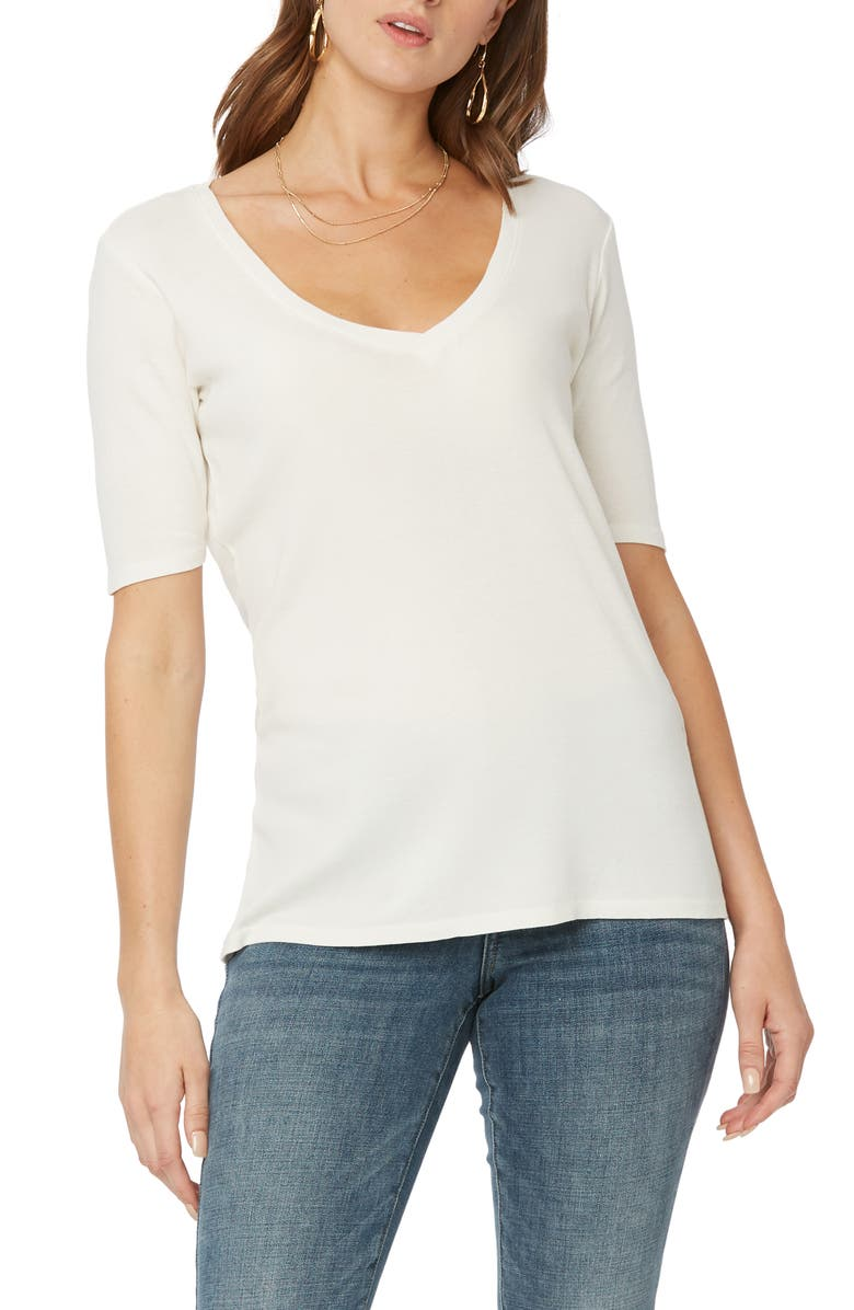 NYDJ V-Neck Ribbed T-Shirt, Main, color, OPTIC WHITE