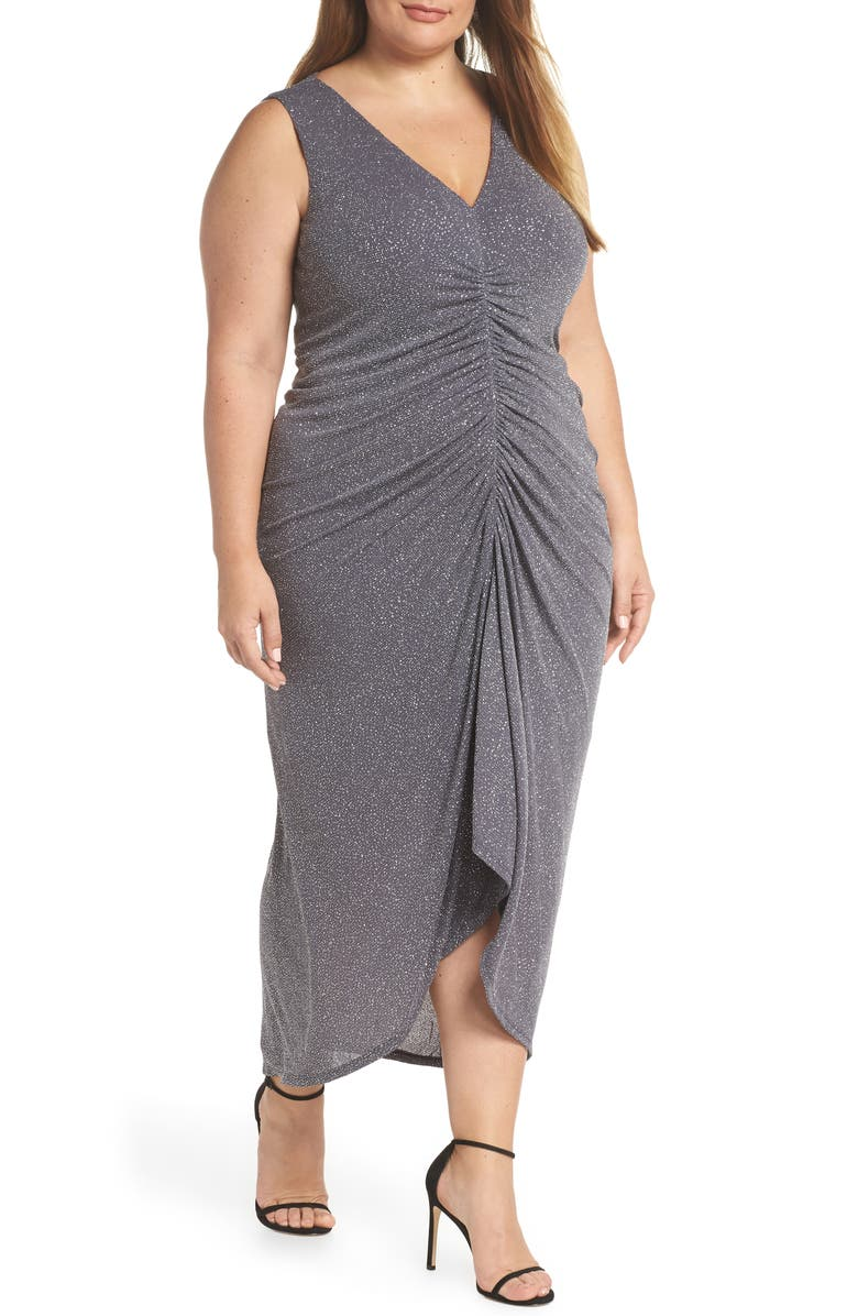 VINCE CAMUTO Sleeveless Ruched Front Metallic Evening Dress, Main, color, 001