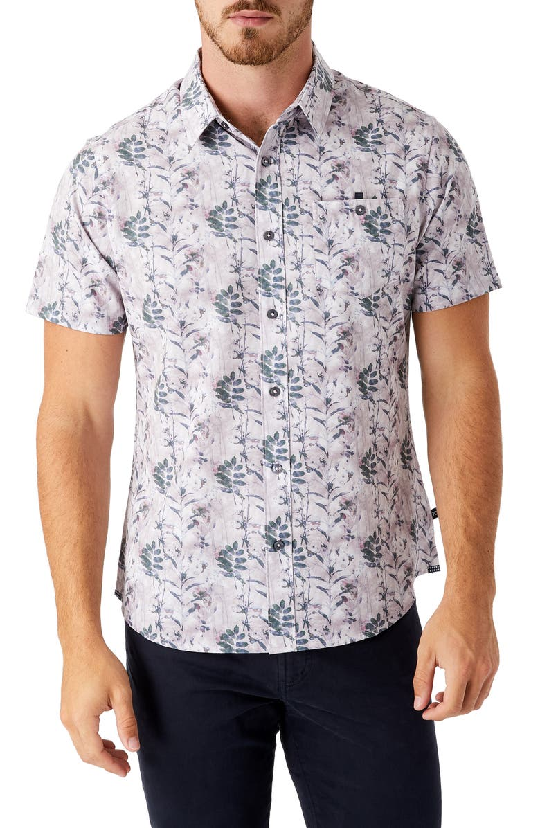 7 DIAMONDS Morning Rise Short Sleeve Performance Button-Up Shirt, Main, color, STONE ROSE