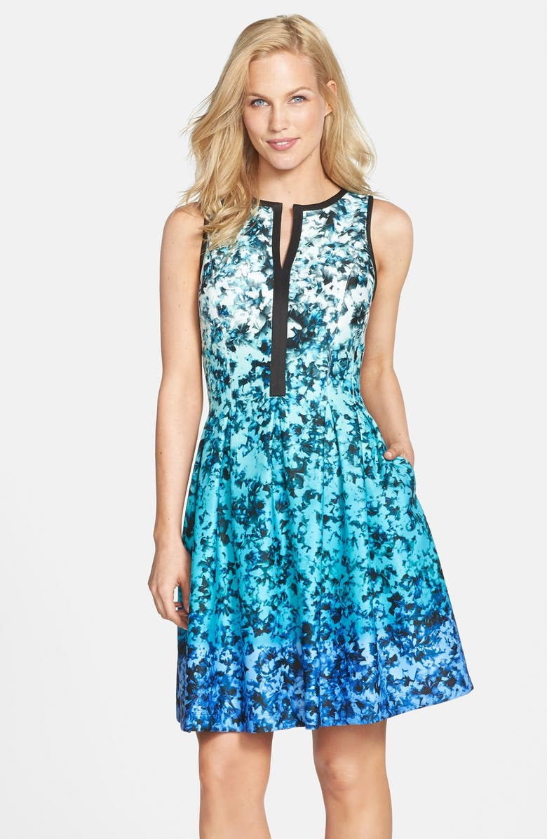 VINCE CAMUTO Ombré Floral Print Sleeveless Fit & Flare Dress, Main, color, 400