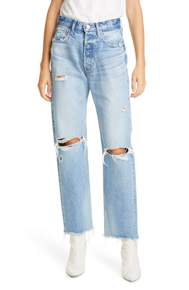 MOUSSY Odessa Ripped Straight Leg Jeans, Main, color, 400