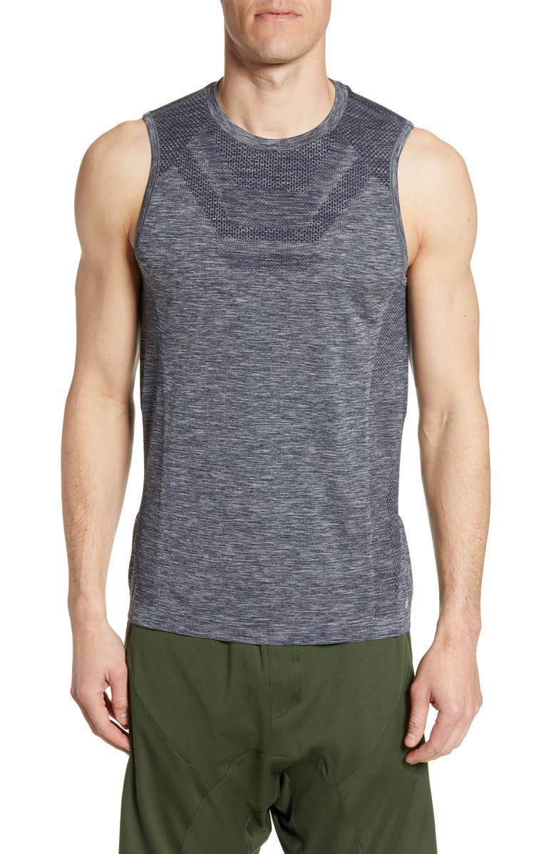 ALO Amplify Seamless Muscle Tank, Main, color, DARK NAVY HEATHER
