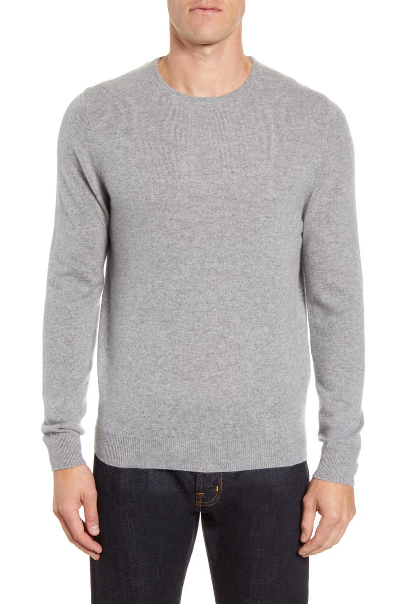 NORDSTROM Cashmere Crewneck Sweater, Main, color, GREY DRIFTWOOD HEATHER