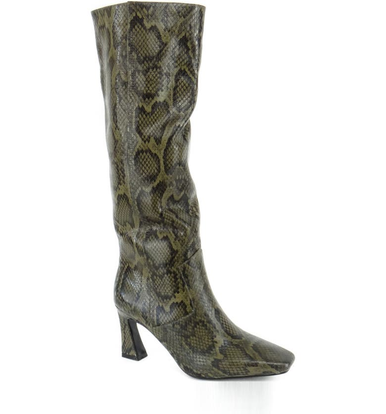 CAVERLEY Candy Knee High Boot, Main, color, GREEN PYTHON PRINT
