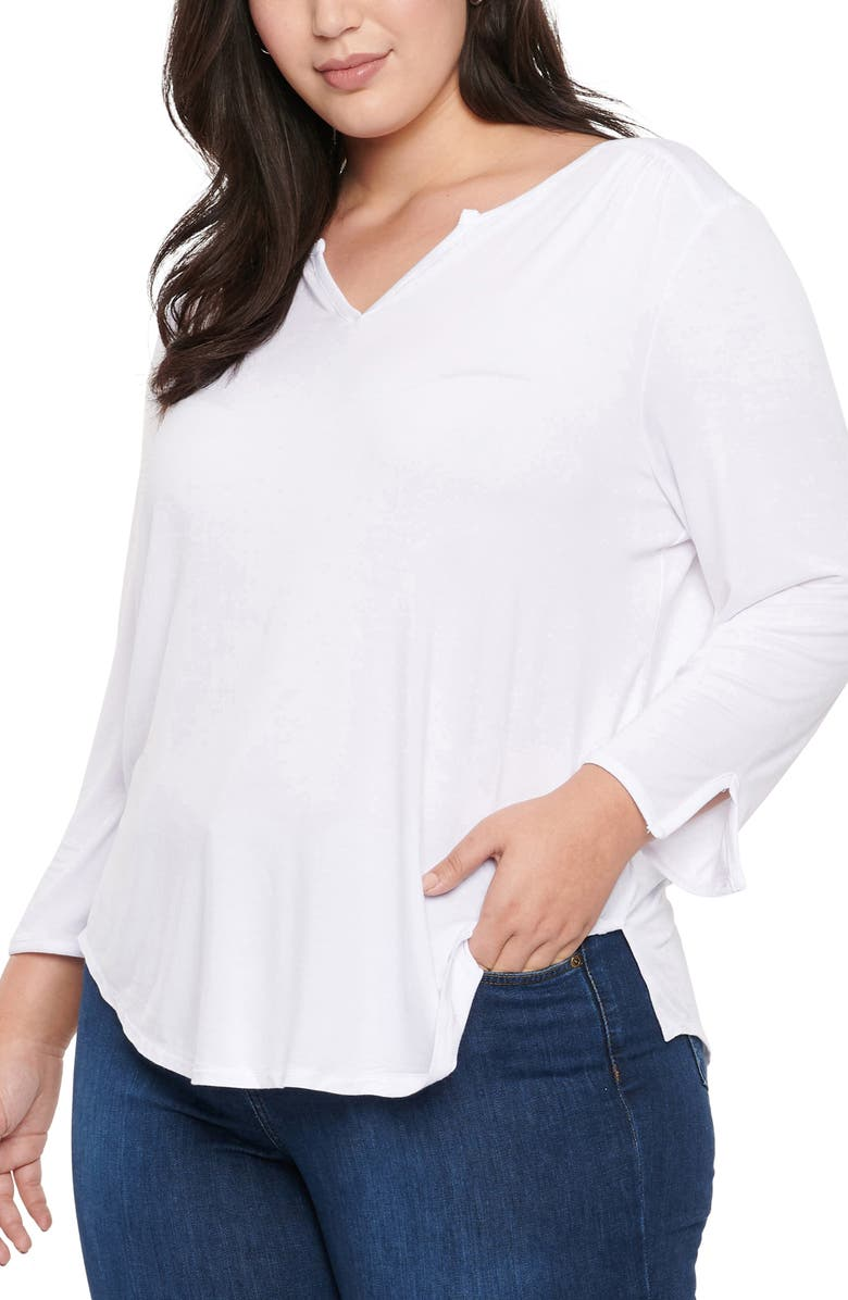 NYDJ Perfect Long Sleeve Top, Main, color, OPTIC WHITE