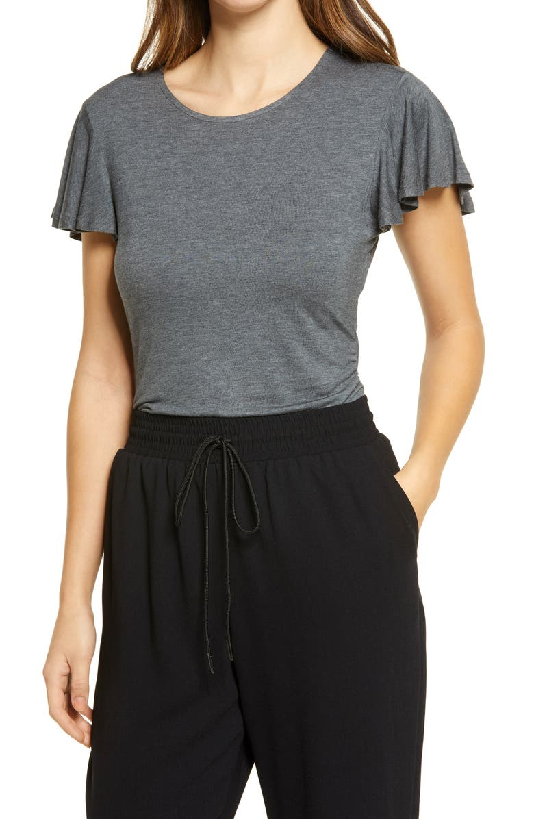 HALOGEN<SUP>®</SUP> Ruched Side Knit Top, Main, color, CHARCOAL