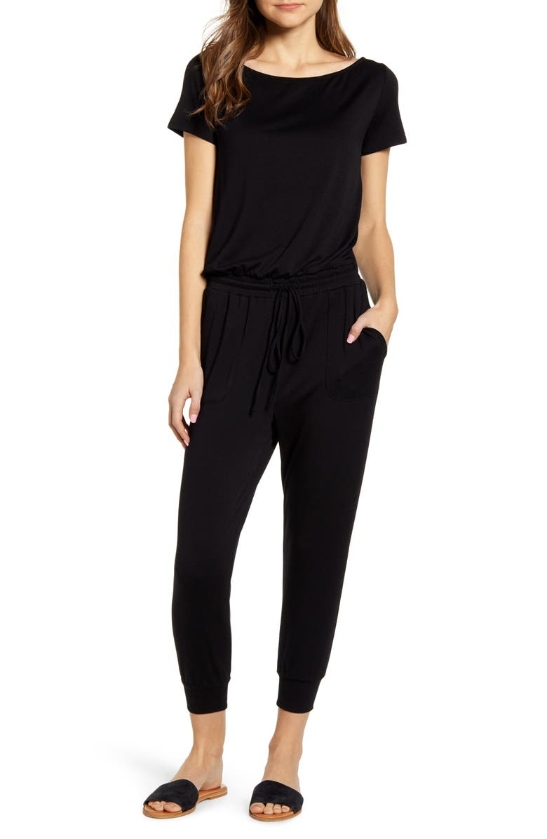 GIBSONLOOK Gibson x International Women's Day Nasreen Off the Shoulder Knit Jumpsuit, Main, color, 001