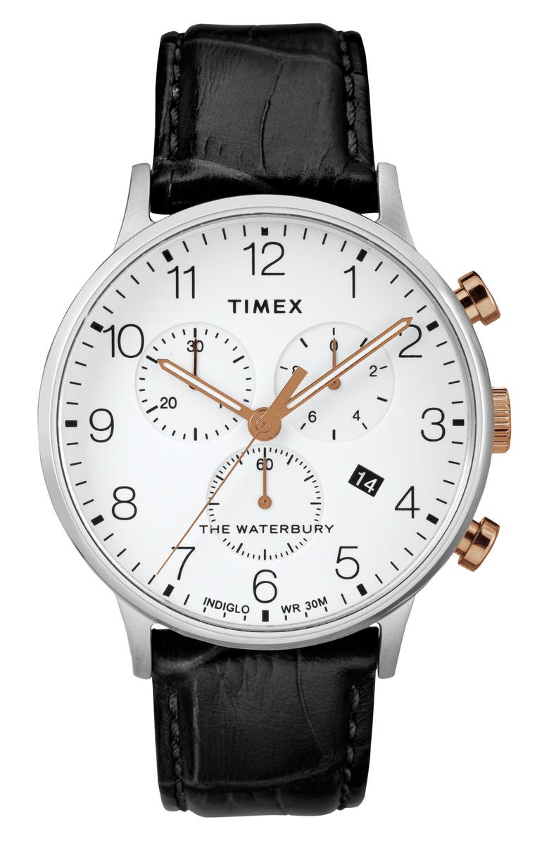 TIMEX<SUP>®</SUP> Waterbury Chronograph Leather Strap Watch, 40mm, Main, color, 001