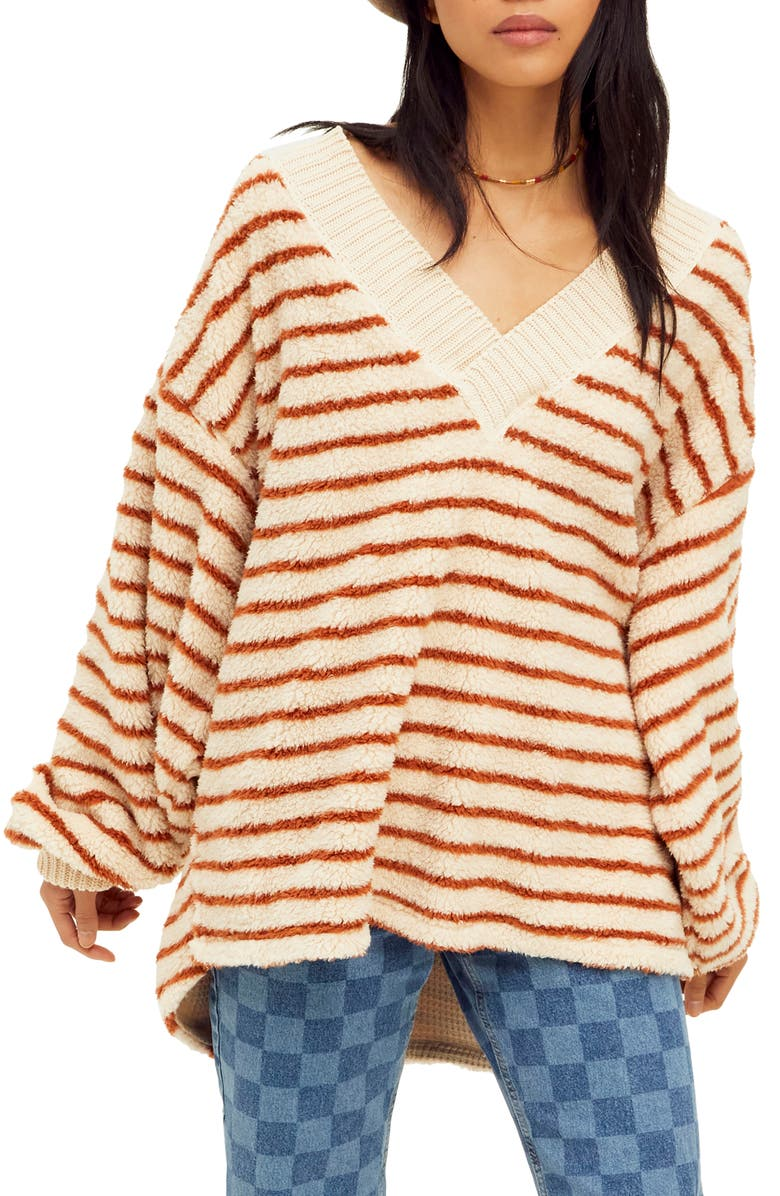 FREE PEOPLE Connell Stripe Faux Fur Top, Main, color, CHERRY CHAI COMBO