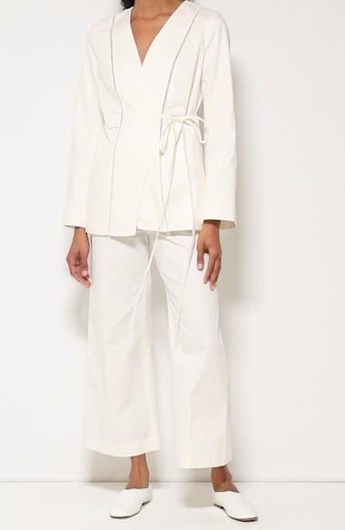 Piedra Pintuck Stretch Twill Wide Leg Ankle Pants, video thumbnail