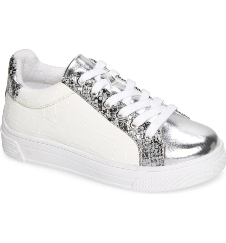 STEVE MADDEN Parka Metallic Low Top Sneaker, Main, color, WHITE/ SILVER